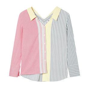 Lily2019秋新款女装不对称细条纹拼接单排扣宽松<span class=H>衬衫</span>118330C4647