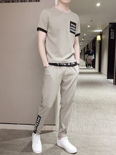 New Summer Men's Short Sleeve T-shirt Suit Linen Ice Silk Leisure Sports Korean Fashion Summer Dress