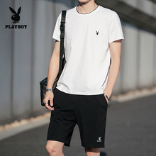 Playboy Summer Suit Men's Short Sleeve T-shirt Fashion Korean Version with Handsome Suit for Leisure Sports