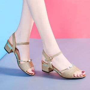 女夏中跟凉鞋百搭时尚粗跟女鞋韩版露趾