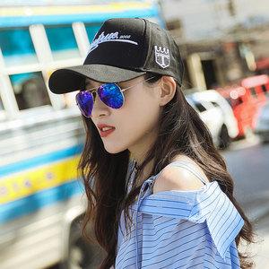 棒球帽韩版男女情侣<span class=H>鸭舌帽</span>夏季运动遮阳白色平沿棒球帽潮休闲百搭