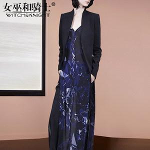 女套装2018新款秋气质名媛小西装外套V领性感修身显瘦<span class=H>长裙</span>两件套