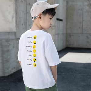 夏装男童短袖2019新款t恤韩版洋气个性潮童中大儿童纯棉半袖<span class=H>童装</span>