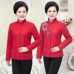 中老年妈妈装冬装贴身棉衣本命年女装红色2017新款中年轻薄小棉袄