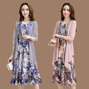?#24515;?#22919;女短袖雪纺女装2019春夏新款妈妈装时尚印花两件套装连衣裙