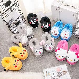 冬季可爱卡通男女脚跟家居家全包情侣棉<span class=H>拖鞋</span>大儿童亲子毛绒保暖鞋