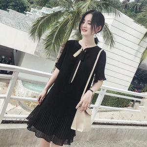 2019新款小清新黑色中长款仙女<span class=H>裙子</span>夏季雪纺很仙的连衣裙法国小众