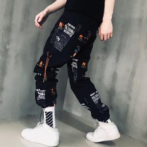 ins超火的裤子秋工装裤男潮牌hiphop宽松休闲<span class=H>运动裤</span>薄款嘻哈束脚