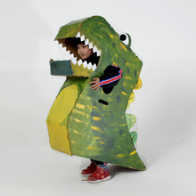 Children's dinosaur cardboard case can wear tremble toy kindergarten handmade model DIY child props show