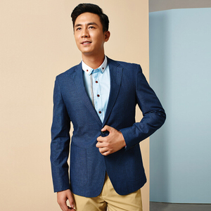 罗米欧<span class=H>男装</span>春季新品男士单西时尚纯色修身简约亚麻休闲西服A1A026