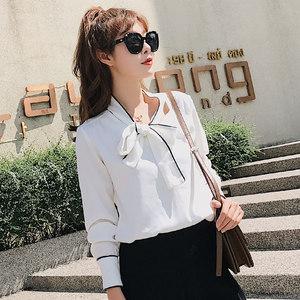 雪纺衫女2019春装新款套头洋气<span class=H>衬衫</span>系带立领优雅长袖白色上衣直筒