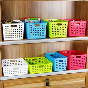 玩具收纳筐桌面零食储物篮日本进口inomata收纳盒塑料彩色收纳筐
