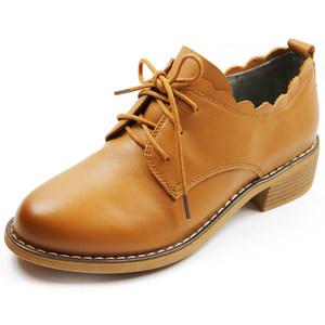 木林森女鞋春款英伦风系带休闲低跟<span class=H>单鞋</span>牛皮<span class=H>软面</span><span class=H>低帮</span>鞋QW8159805