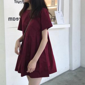 春季2019新款韩版气质短款娃娃裙法式小众复古<span class=H>连衣裙</span>短袖网红裙子