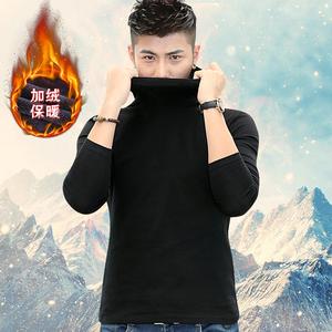 冬款男士高领大码加绒加厚打底衫修身保暖纯棉长袖<span class=H>t恤</span>秋衣内衣服