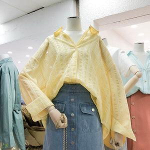 2019韩国春装新款慵懒风条纹<span class=H>衬衫</span>女中长款宽松显瘦长袖上衣Polo衫
