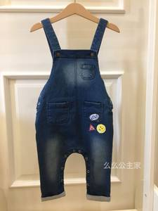 2017秋款出口韩国高端大牌男童女童超软弹力牛仔<span class=H>背带裤</span>连体裤