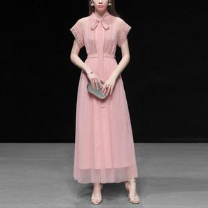 粉色波点纱裙长裙气质收腰裙子显瘦中长款连衣裙<span class=H>女装</span>2019新款夏装