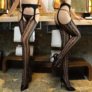 性感吊带袜情趣套装长筒丝袜女黑丝开档制服透视激情内衣血滴子