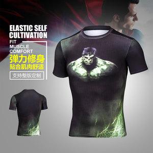 運動速干衣por運動緊身超人男短袖T恤高彈吸汗健身整版定制印logo