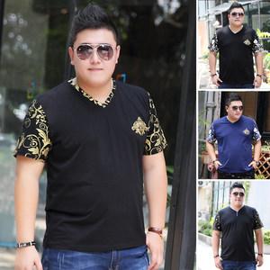新款300斤大码男装短袖<span class=H>T恤</span>夏季肥佬加肥加大特大号潮胖子宽松上衣
