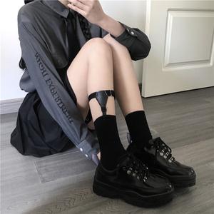 韩国ins同款原宿风复古硬妹黑色防滑绑带袜<span class=H>吊袜带</span>小腿袜腿环筒袜