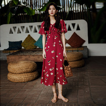 V-collar Flower Skirt New Summer Women's Chiffon Dress with Slender Waist and Cold Wind Fairy Red Skirt