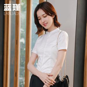 小立领<span class=H>衬衫</span>女短袖2019夏季新款韩版无圆领白色衬衣收腰职业工装寸