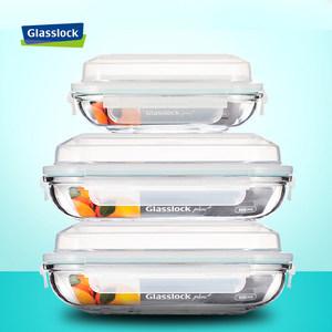 glasslock钢化<span class=H>耐热</span><span class=H>玻璃</span>盘家用鱼盘长方形微波炉<span class=H>盘子</span>纯色大号餐具