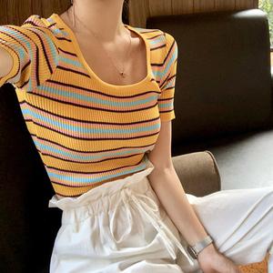 夏季韩版修身显瘦百搭条纹针织衫