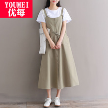 Summer dress, new style of girls'literature and art RETRO suspender dress, Korean version of Xiaoqingxin strap dress for senior high school students