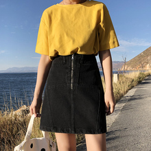 High waist student black chic jeans skirt female ins super hot a half-length skirt pants new style in spring and summer 2019