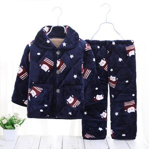 儿童<span class=H>睡衣</span>冬季加厚款法兰绒家居服男童女童小孩珊瑚绒宝宝夹棉套装