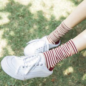 夏季条纹中筒堆堆袜子女韩国纯棉运动可爱女士长袜学院风潮款袜女