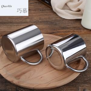 巧慕OC304不锈钢马克杯带<span class=H>手柄</span>办公室牛奶咖啡杯冷饮啤酒双层