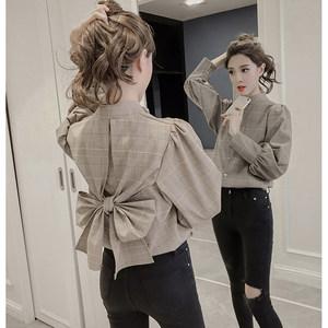 很仙的上衣2019春装新款韩版收腰洋气格子<span class=H>衬衫</span>女长袖港味风衬衣潮
