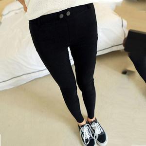 黑色<span class=H>打底裤</span>春夏季2019新款女外穿高腰长裤百搭黑色九分小脚裤子
