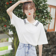 Silk Cage 2019 New Loose Stripe Short Sleeve White T-shirt Female Student Half Sleeve Navy Wind Polo Blouse Summer