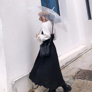 twins小个子黑色抹胸<span class=H>连衣裙</span>女秋冬新款两件套设计感白衬衫套装