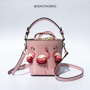 水桶包女斜跨包2018新款夏季火烈鸟小仙女包包手提包小众设计女包