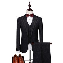 Men 3 Pieces Slim Fit Casual Tuxedo Suit Male Suits Set Suite