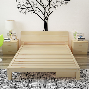 简单1.8m宾馆客房加固型<span class=H>大床</span>实木床木板1.2米1mx1.9m松木1.8x2.0m