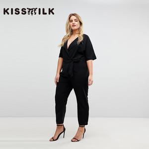 kiss milk欧美简约大码<span class=H>女装</span>黑色显瘦性感V领式翻领短袖连体长裤