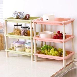 多功能三层厨房<span class=H>置物架</span>浴室收纳架 塑料墙脚整理架塑料组装架子