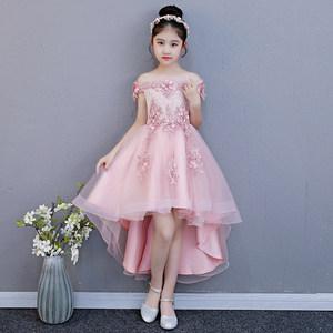 粉色女童一字肩生日<span class=H>公主裙</span>蓬蓬纱儿童走秀礼服小主持人演出服