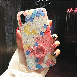 彩方格iPhoneX<span class=H>手机壳</span>苹果7/8plus指环iPhone6splus浮雕全包保护套