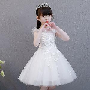 女童公主裙蓬蓬纱儿童主持人晚礼服白色小花童<span class=H>婚纱</span>裙钢琴演出服夏