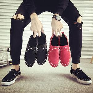 <span class=H>男鞋</span>子<span class=H>豆豆鞋</span>男快手红人网红同款板鞋休闲潮鞋社会精神小伙懒人鞋