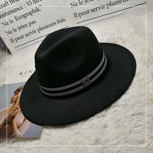 韩版帽子宽檐平顶小<span class=H>礼帽</span>女毛呢春秋冬英伦爵士情侣丸子帽遮阳女帽