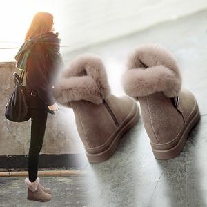 2018冬季真皮兔毛女靴子短靴韩版内增高<span class=H>雪地靴</span>女短筒加绒保暖棉鞋
